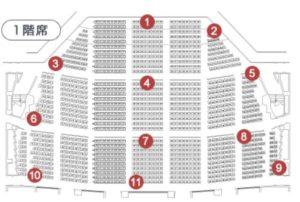 名古屋センチュリーホールの座席表 1階