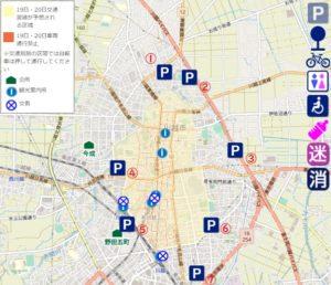 川越祭り秋の駐車場